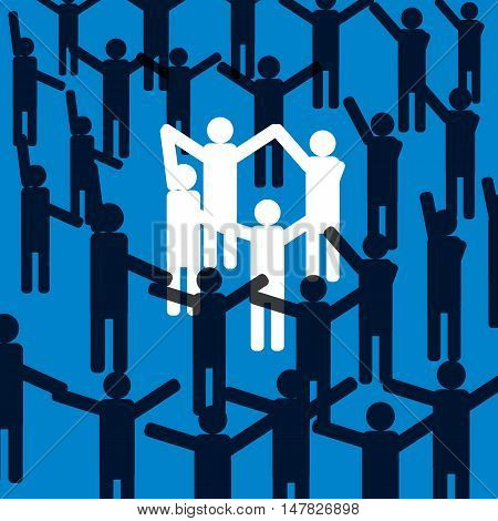 Group of business people building a team of employees.