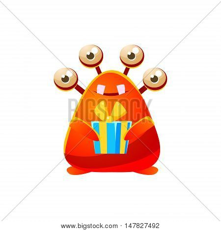 Red Toy Monster Holding Wrapped Gift Cute Childish Illustration. Cartoon Colorful Alien Character With Party Attribute Isolated On White Background.