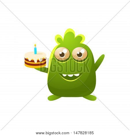 Green Toy Monster With Birthday Cake Cute Childish Illustration. Cartoon Colorful Alien Character With Party Attribute Isolated On White Background.