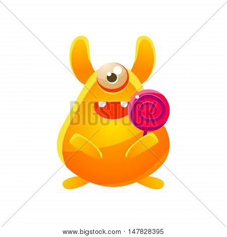 Yellow Toy Monster With Candy Cute Childish Illustration. Cartoon Colorful Alien Character With Party Attribute Isolated On White Background.