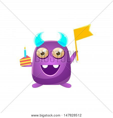 Purple Toy Monster With Horns Holding Flag And Piece Of Cake Cute Childish Illustration. Cartoon Colorful Alien Character With Party Attribute Isolated On White Background.