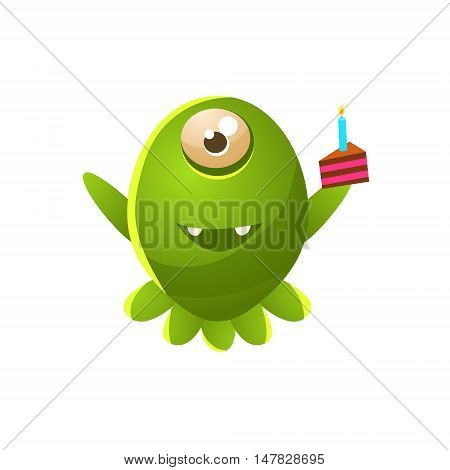 Green One-eyed Toy Monster With Slice Of Cake Cute Childish Illustration. Cartoon Colorful Alien Character With Party Attribute Isolated On White Background.