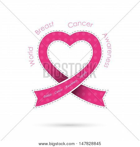 Pink heart ribon sign.Breast cancer awareness logo design.Breast cancer awareness month icon.Realistic pink ribbon logo.Pink care logo.Vector illustration