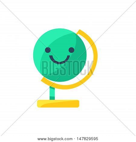 Globe Primitive Icon With Smiley Face. Office Or School Desk Supply Sticker In Simplified Childish Cartoon Vector Design Isolated On White Background