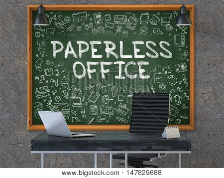 Paperless Office Concept Handwritten on Green Chalkboard with Doodle Icons. Office Interior with Modern Workplace. Dark Old Concrete Wall Background. 3D.