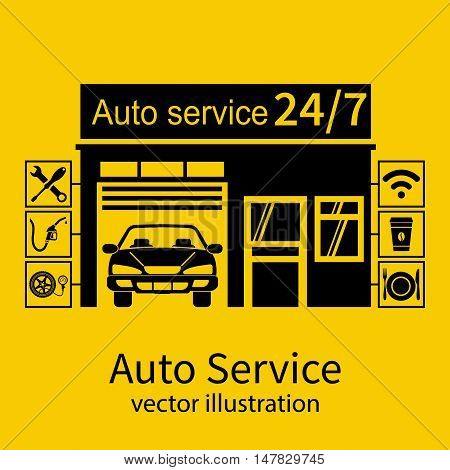 Concept car service. Icons repair auto and service customers. Black silhouette on a yellow background. Vector illustration flat design.