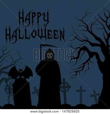 Happy Halloween card death with scythe. Death with a scythe in the cemetery crosses graves. bat on his shoulder angel of death. Abstract vector illustration. Text banner.