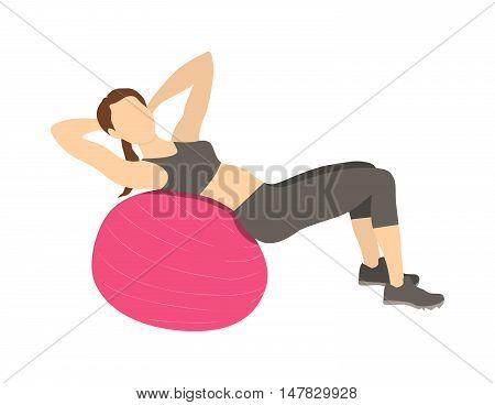 Woman doing abs exercises on fitball. Healthy lifestyle. Pilates and gym training.