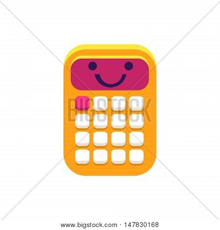 Calculator Primitive Icon With Smiley Face. Office Or School Desk Supply Sticker In Simplified Childish Cartoon Vector Design Isolated On White Background