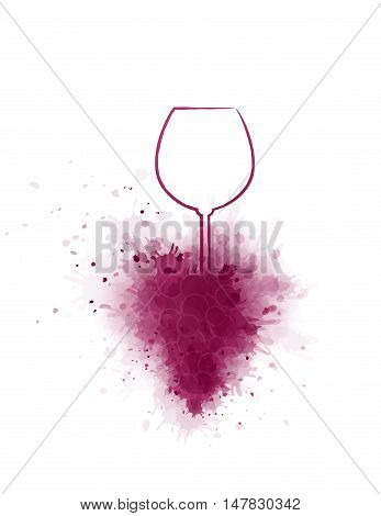 hand drawing wine glass and purple grape silhouette