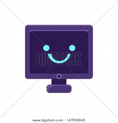 Computer Screen Primitive Icon With Smiley Face. Office Or School Desk Supply Sticker In Simplified Childish Cartoon Vector Design Isolated On White Background