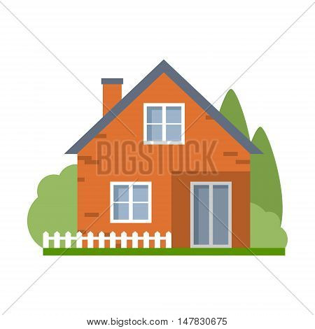 Isolated cartoon house. Simple suburban house. Concept of real estate, property and ownership.
