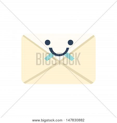 Sealed Letter Primitive Icon With Smiley Face. Office Or School Desk Supply Sticker In Simplified Childish Cartoon Vector Design Isolated On White Background