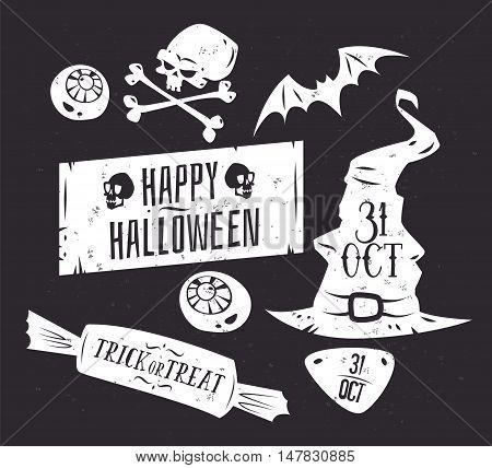 Halloween illustration. Vector set of happy halloween vintage badges, logos emblems and labels. Halloween cardposter. Vector stock illustration.