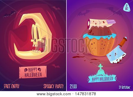 Halloween illustration witch skull moon, a severed finger in candy beside a bloody knife . Vector set of happy halloween vintage badges, logos emblems and labels. Vector stock illustration.