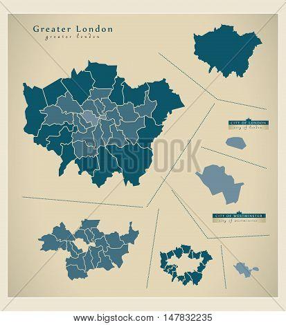 Modern Map - Greater London UK vector illustration
