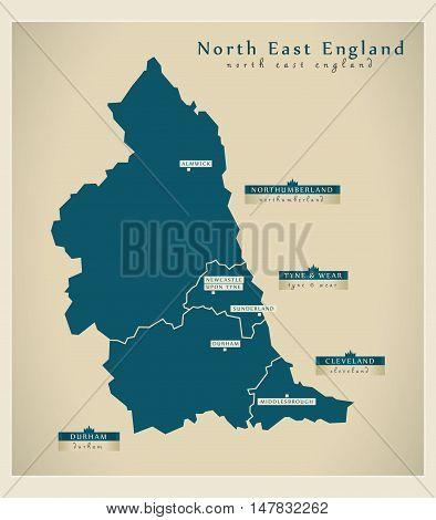 Modern Map - North East England UK