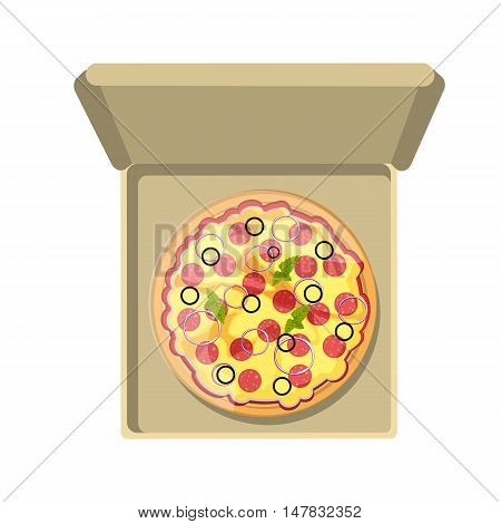 Pepperoni pizza in cardboard box. Fast food meal. Pizza with cheese, salami, onion and more. Hot and fresh snack.