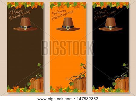 Thanksgiving background. Multicolored banners set with pumpkins fallen leaves and pilgrim's hat. Vector illustration