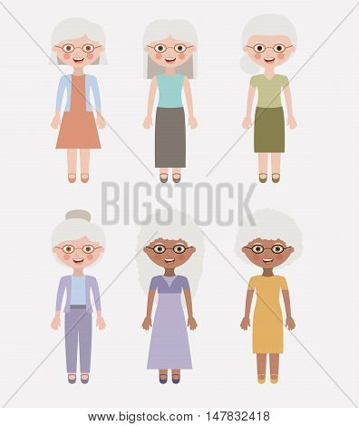 Old woman cartoon icon. Grandmother granny and family theme. Colorful design. Vector illustration
