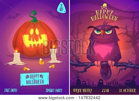 Halloween illustration owl on a tree branch in the cemetery and pumpkin with sweets. Vector set of happy halloween vintage badges, logos emblems and labels. Vector stock illustration.