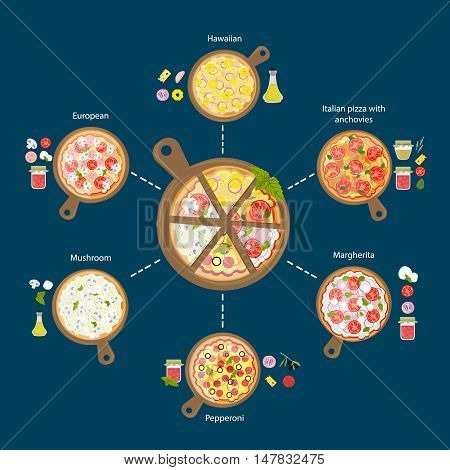Different pizza set. Pepperoni and hawaii, european, margherita and more. Different pizzas on wooden boards.