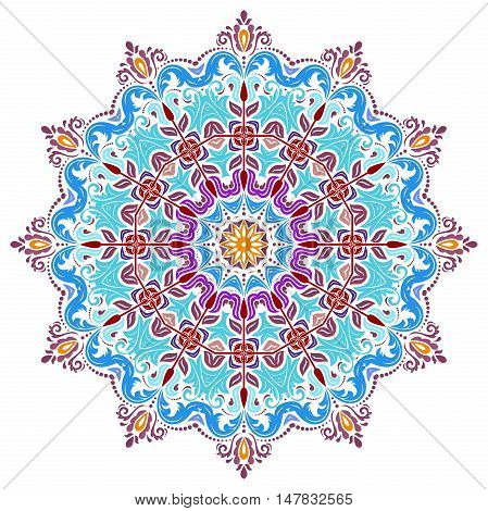 Oriental vector colorful round pattern with arabesques and floral elements. Traditional classic ornament