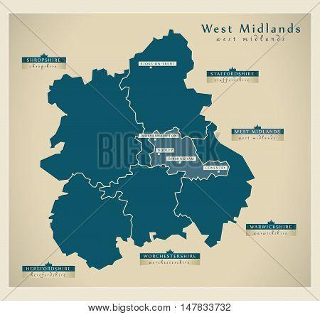 Modern Map - West Midlands UK vector