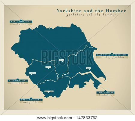 Modern Map - Yorkshire and the Humber UK