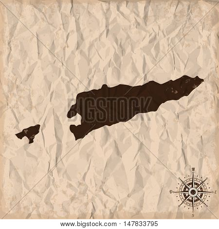 East Timor old map with grunge and crumpled paper. Vector illustration