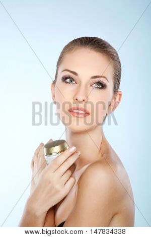 Beautiful white-headed girl, isolated on a white background, emotions, cosmetics