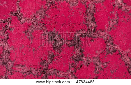 Plaster, plaster texture, plaster background. Old brick wall with plaster, mosaic, pink plaster