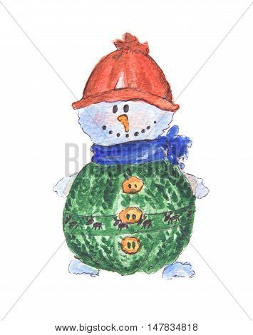 Isolated watercolor snowman. Funny and smiling snowman on white background. Symbol of Christmas and New Year.