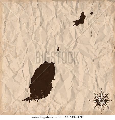 Grenada old map with grunge and crumpled paper. Vector illustration