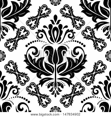 Seamless baroque black and white vector pattern. Traditional classic orient ornament