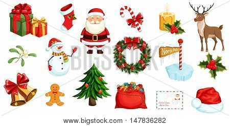 Christmas icons set. Christmas holiday objects collection. Christmas illustration: santa, wreath, north pole, snowman, gift, christmas tree, santa hat, santa bag, reindeer, mistletoe, holly, toy, bell