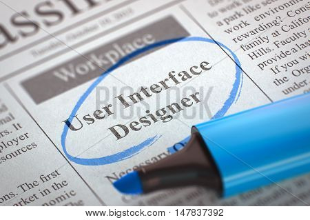 Newspaper with Job Vacancy User Interface Designer. Blurred Image. Selective focus. Job Search Concept. 3D Rendering.