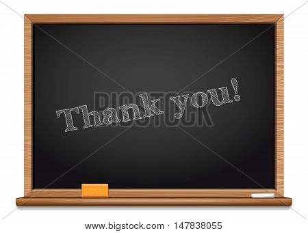 Thank you. Card for Thanksgiving Day on the blackboard. Vector illustration