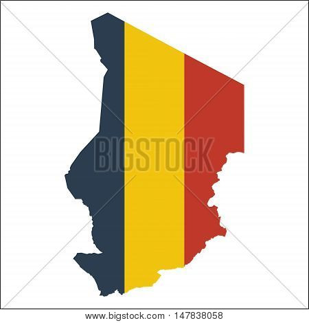 Chad High Resolution Map With National Flag. Flag Of The Country Overlaid On Detailed Outline Map Is