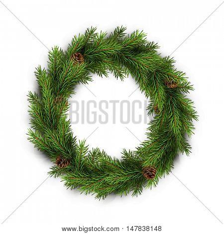 Christmas wreath on white background. Xmas decorations. Vector eps10 illustration