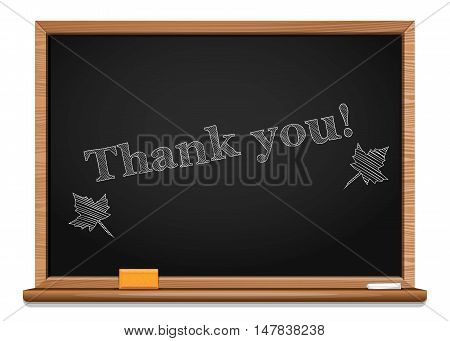 Maple leaves and inscription chalk on a blackboard - Thank you. Thanksgiving Day. Vector illustration