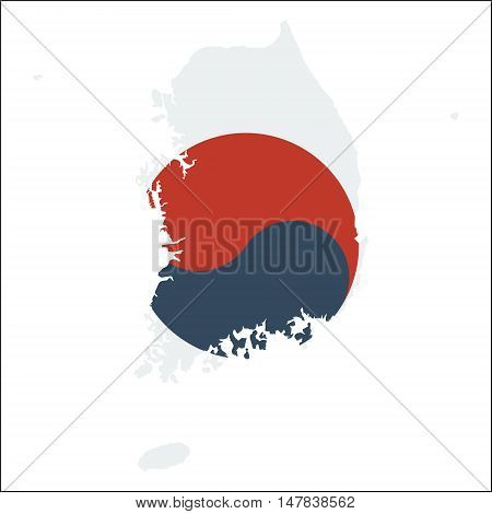 Korea, Republic Of High Resolution Map With National Flag. Flag Of The Country Overlaid On Detailed