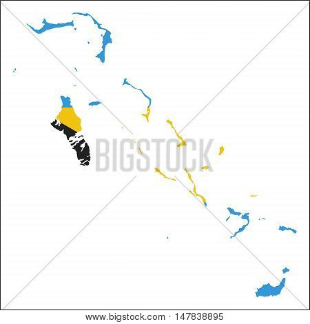 Bahamas High Resolution Map With National Flag. Flag Of The Country Overlaid On Detailed Outline Map