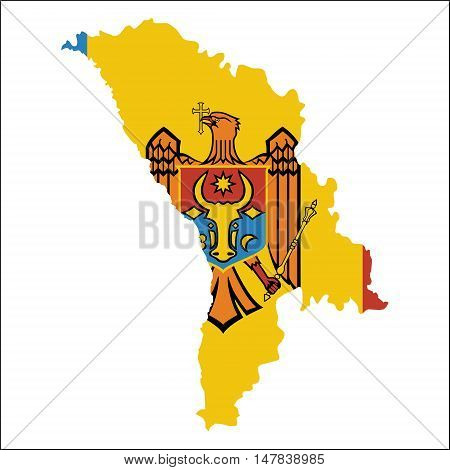 Moldova, Republic Of High Resolution Map With National Flag. Flag Of The Country Overlaid On Detaile