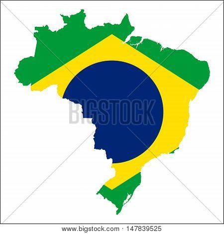 Brazil High Resolution Map With National Flag. Flag Of The Country Overlaid On Detailed Outline Map