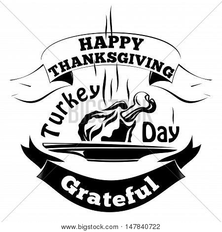 Grilled meat turkey on a platter. Happy Thanksgiving. Grateful. Turkey Day. Vector  icon isolated on white background
