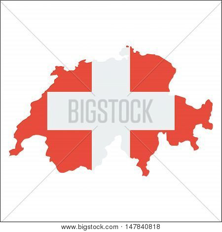 Switzerland High Resolution Map With National Flag. Flag Of The Country Overlaid On Detailed Outline