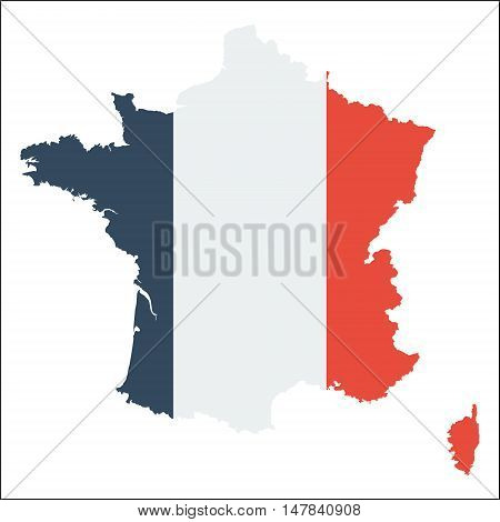 France High Resolution Map With National Flag. Flag Of The Country Overlaid On Detailed Outline Map