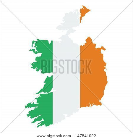 Ireland High Resolution Map With National Flag. Flag Of The Country Overlaid On Detailed Outline Map