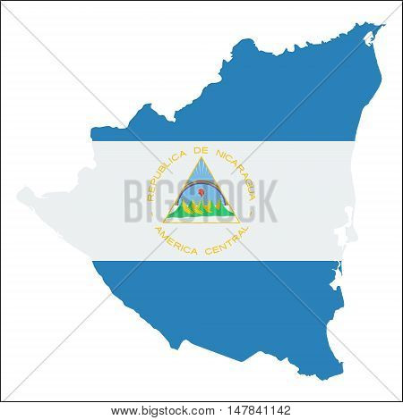 Nicaragua High Resolution Map With National Flag. Flag Of The Country Overlaid On Detailed Outline M
